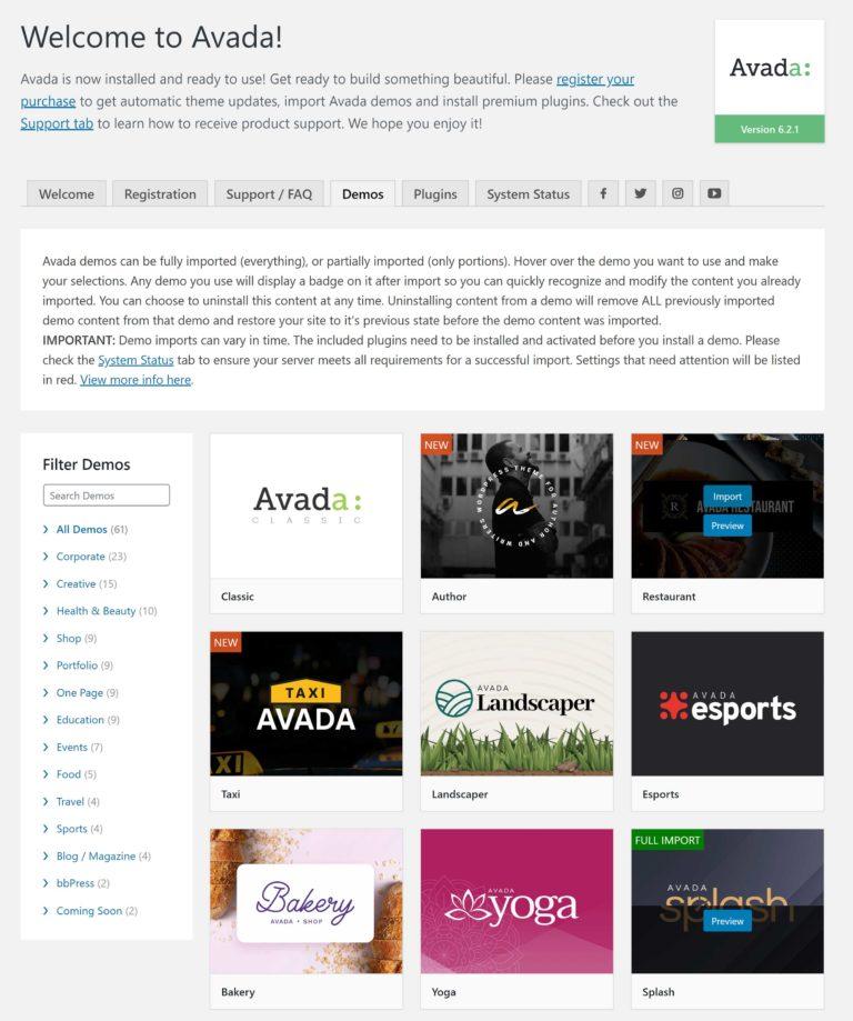 Avada Theme Demos