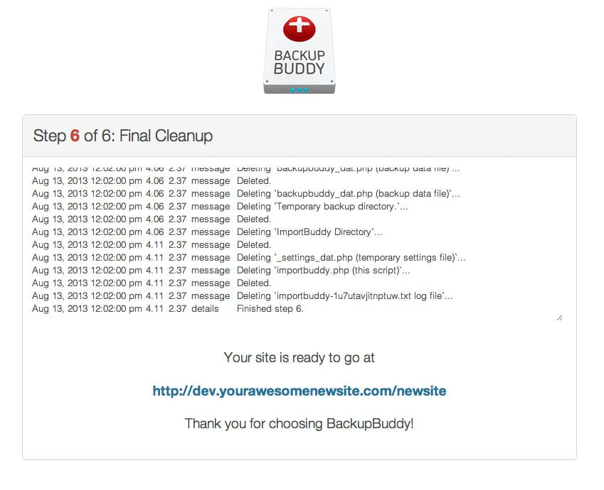 Restoring a Website in BackupBuddy