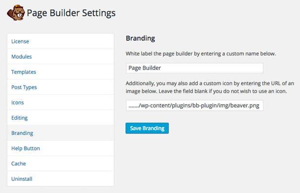 Beaver Builder Branding Settings