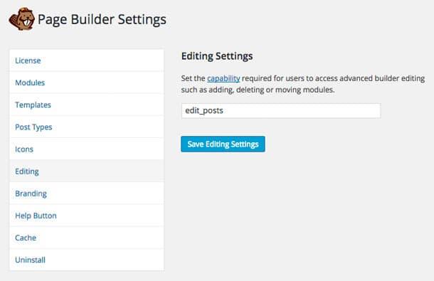 Beaver Builder Editing Settings
