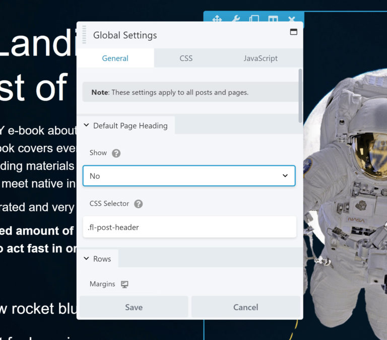 Beaver Builder Global Settings