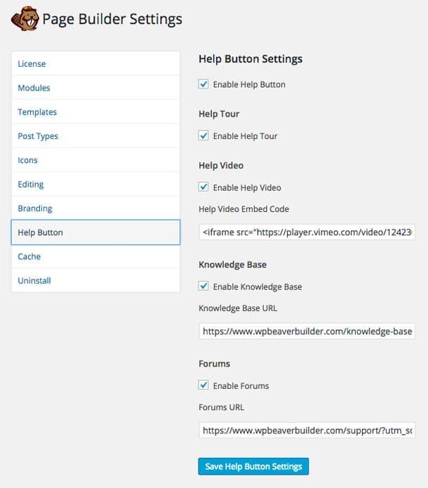 Beaver Builder Help Button Settings