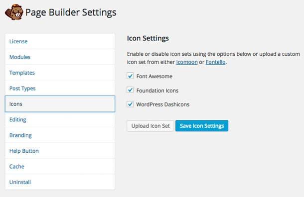 Beaver Builder Icons Settings