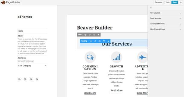 Beaver Builder Interface