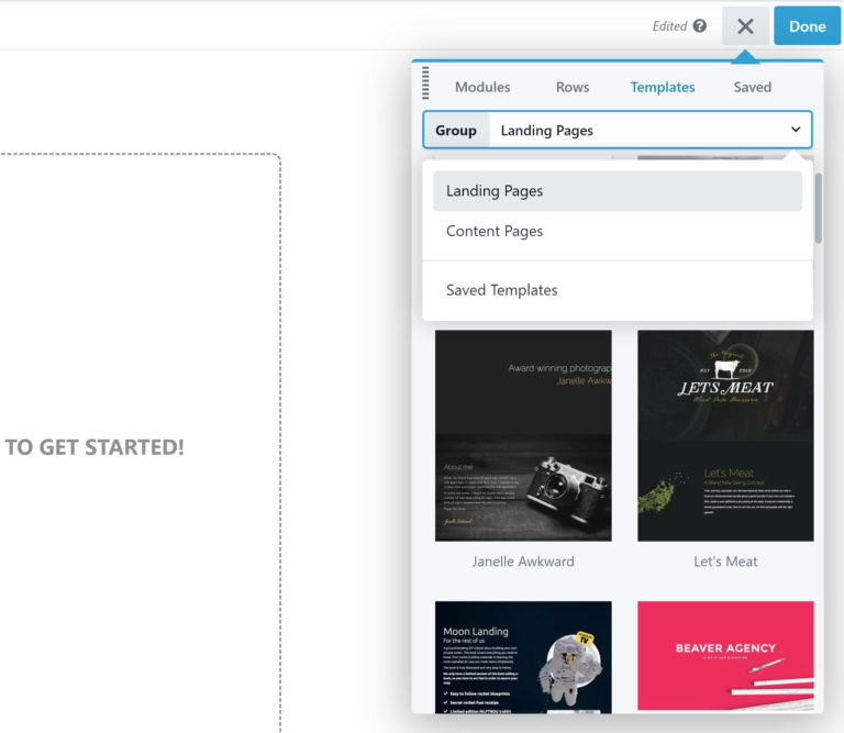 Selecting a Landing Page Template