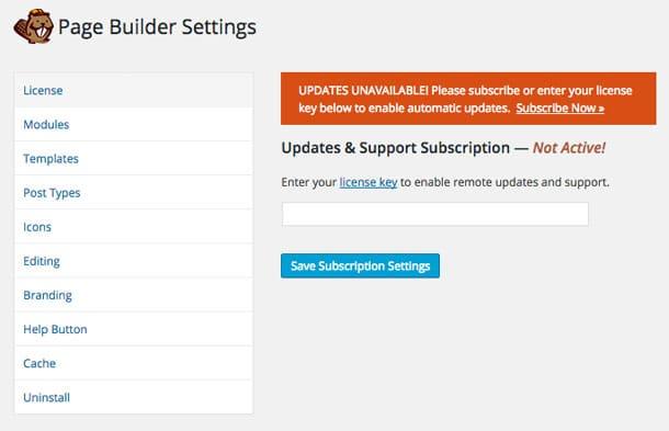 Beaver Builder License Settings