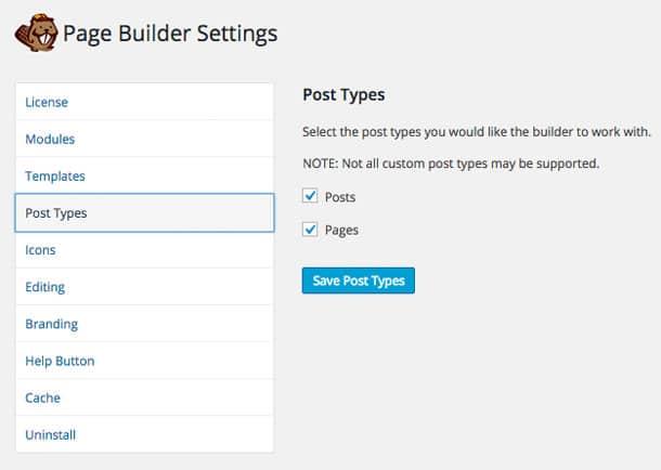 Beaver Builder Post Types Settings