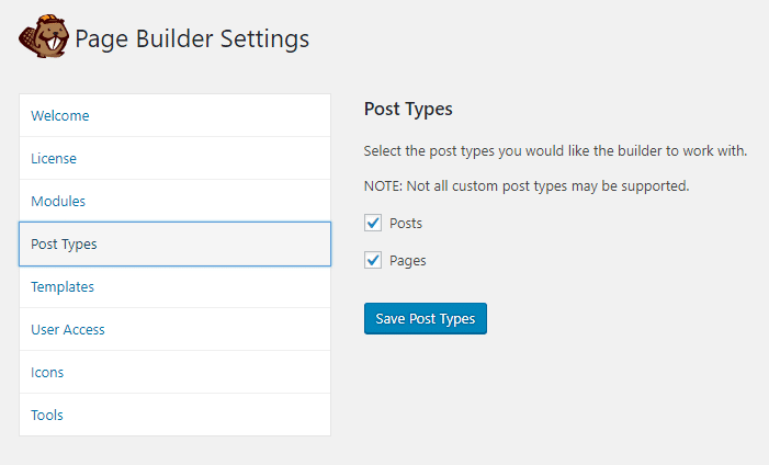 Post Types Settings
