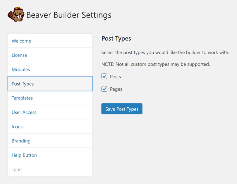 Beaver Builder Post Type Settings
