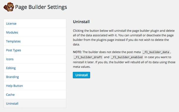 Uninstall Beaver Builder
