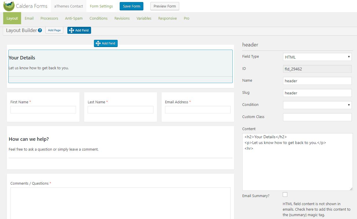 Caldera Forms interface