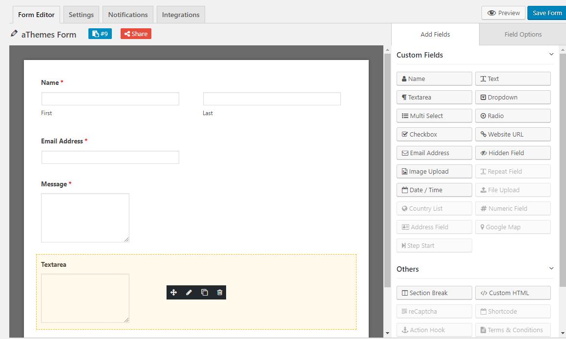 WeForm interface
