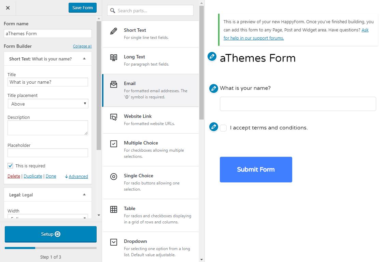 HappyForms interface