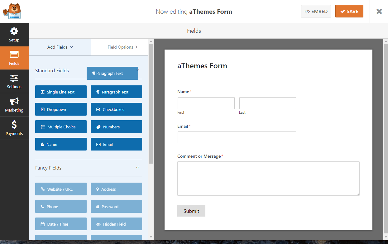 WPForms interface