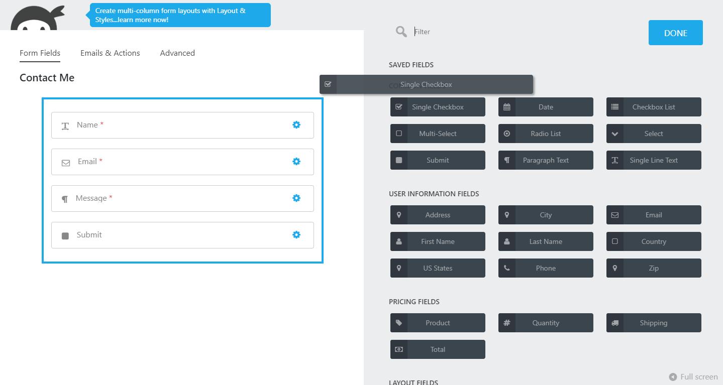 Ninja Forms interface