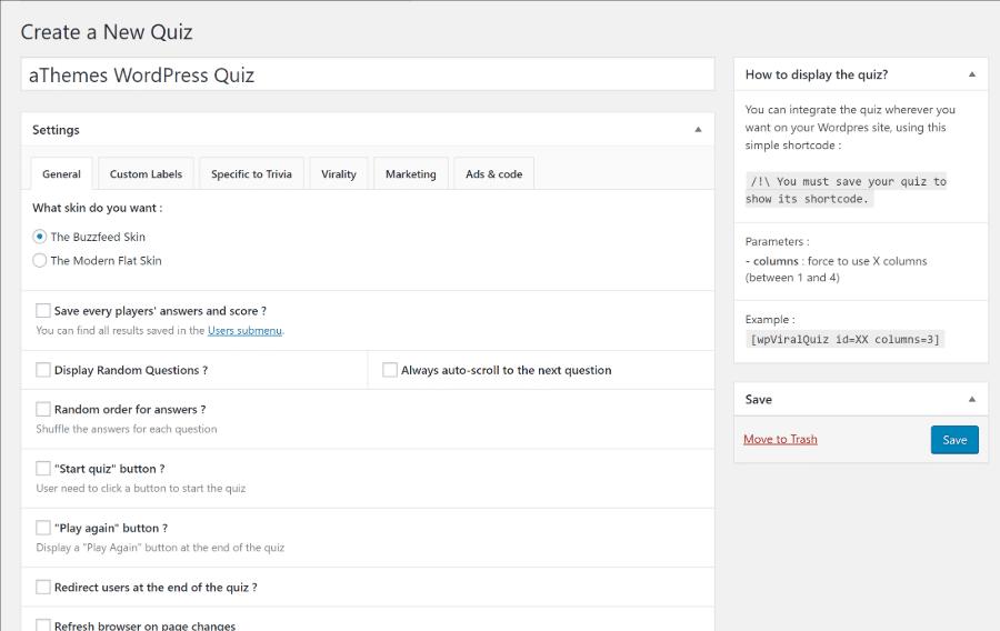 viral quiz interface