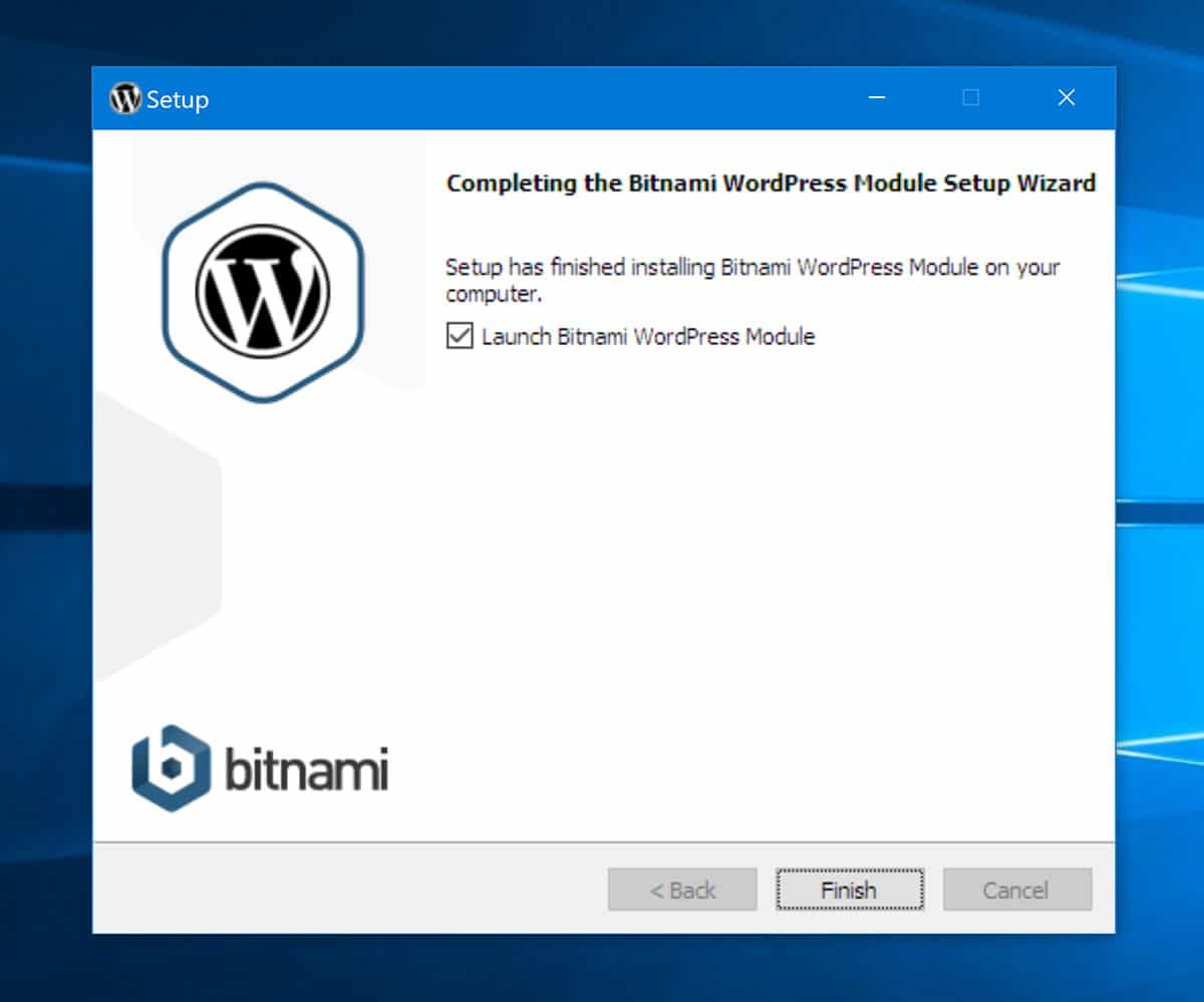 WordPress installation completed with Bitnami