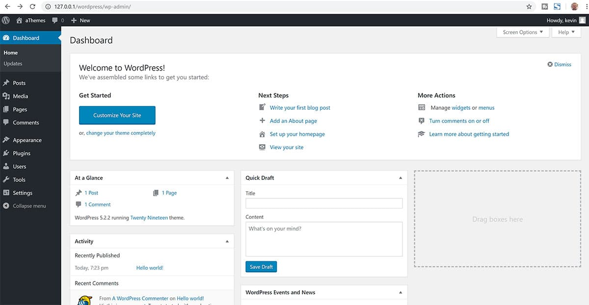 WordPress admin area installed with Bitnami