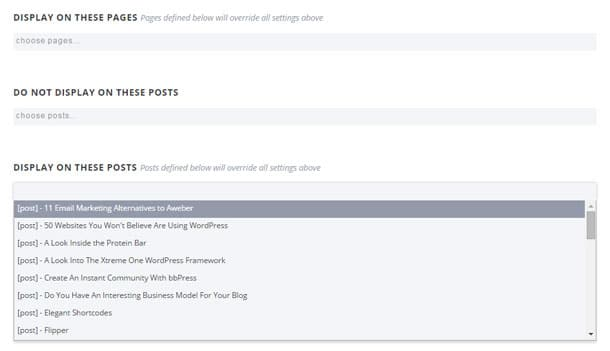 Select What Posts and Pages Forms are Displayed On