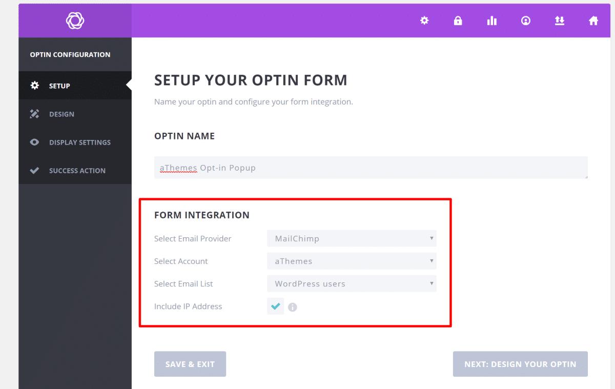 Create new optin form