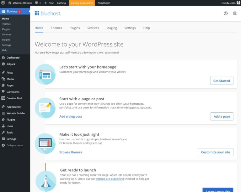 WordPress dashboard on Bluehost