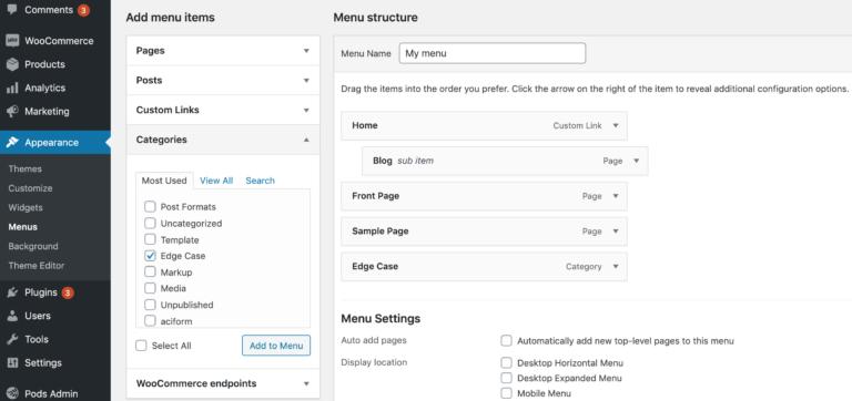 Adding categories to a WordPress menu.