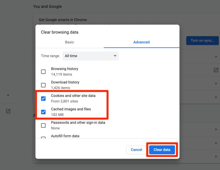 پاک کردن حافظه پنهان و کوکی های Chrome.