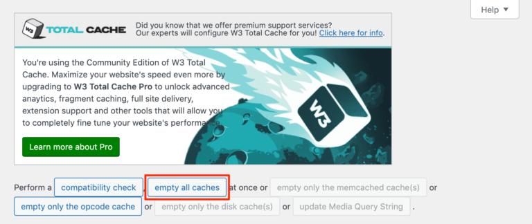 پاک کردن حافظه پنهان سایت با W3 Total Cache.