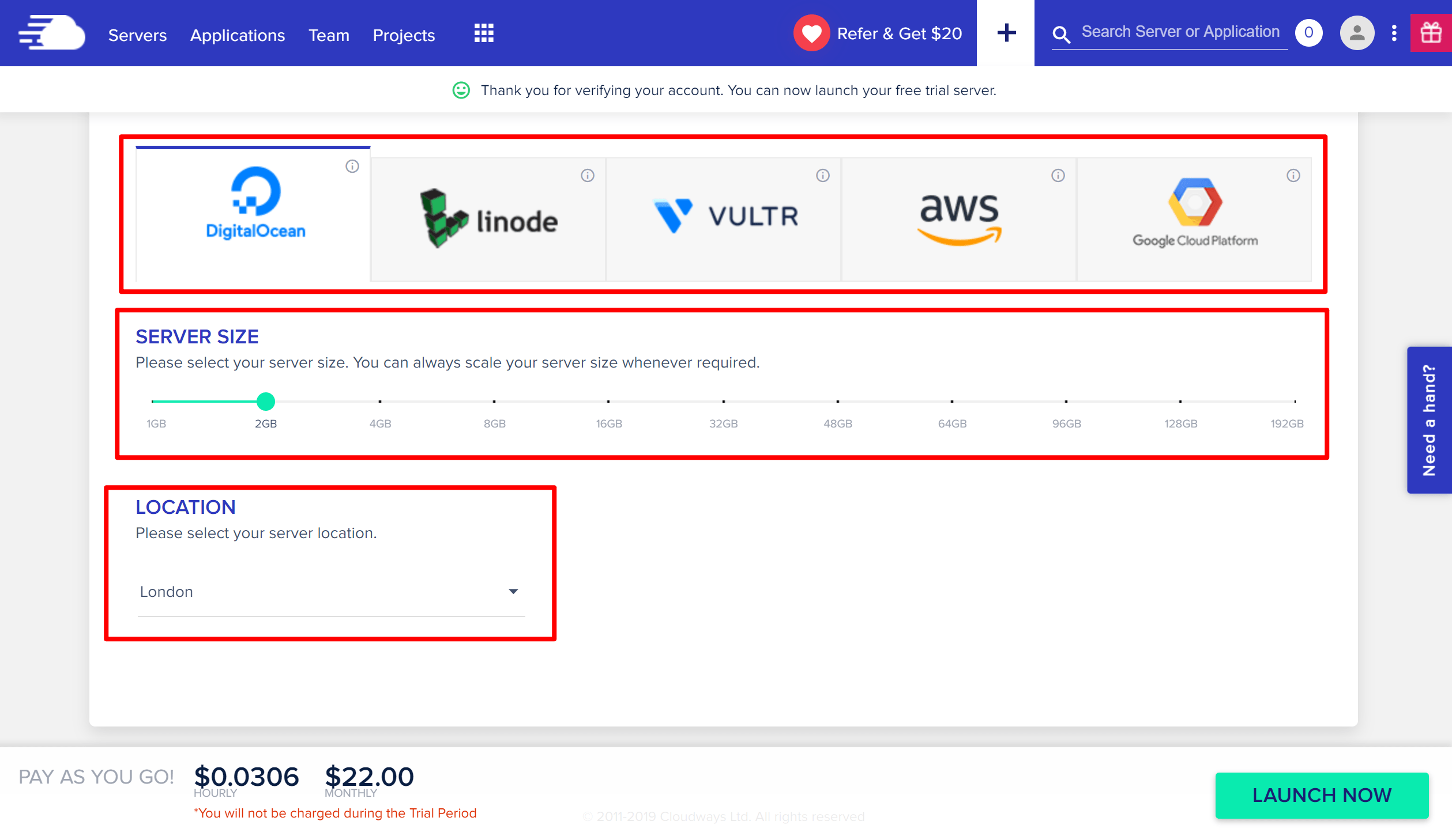 Server options at Cloudways