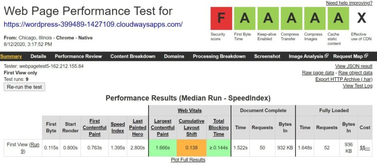 Cloudways WebPageTest results