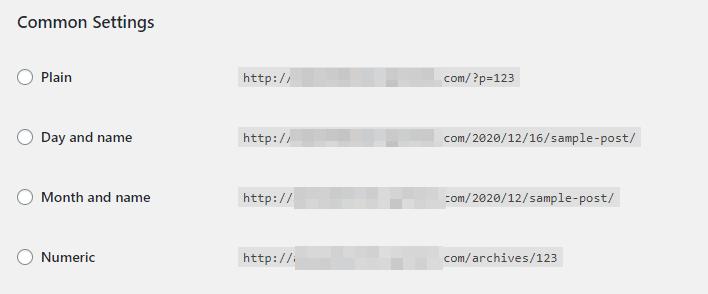Configuring permalink settings in WordPress.