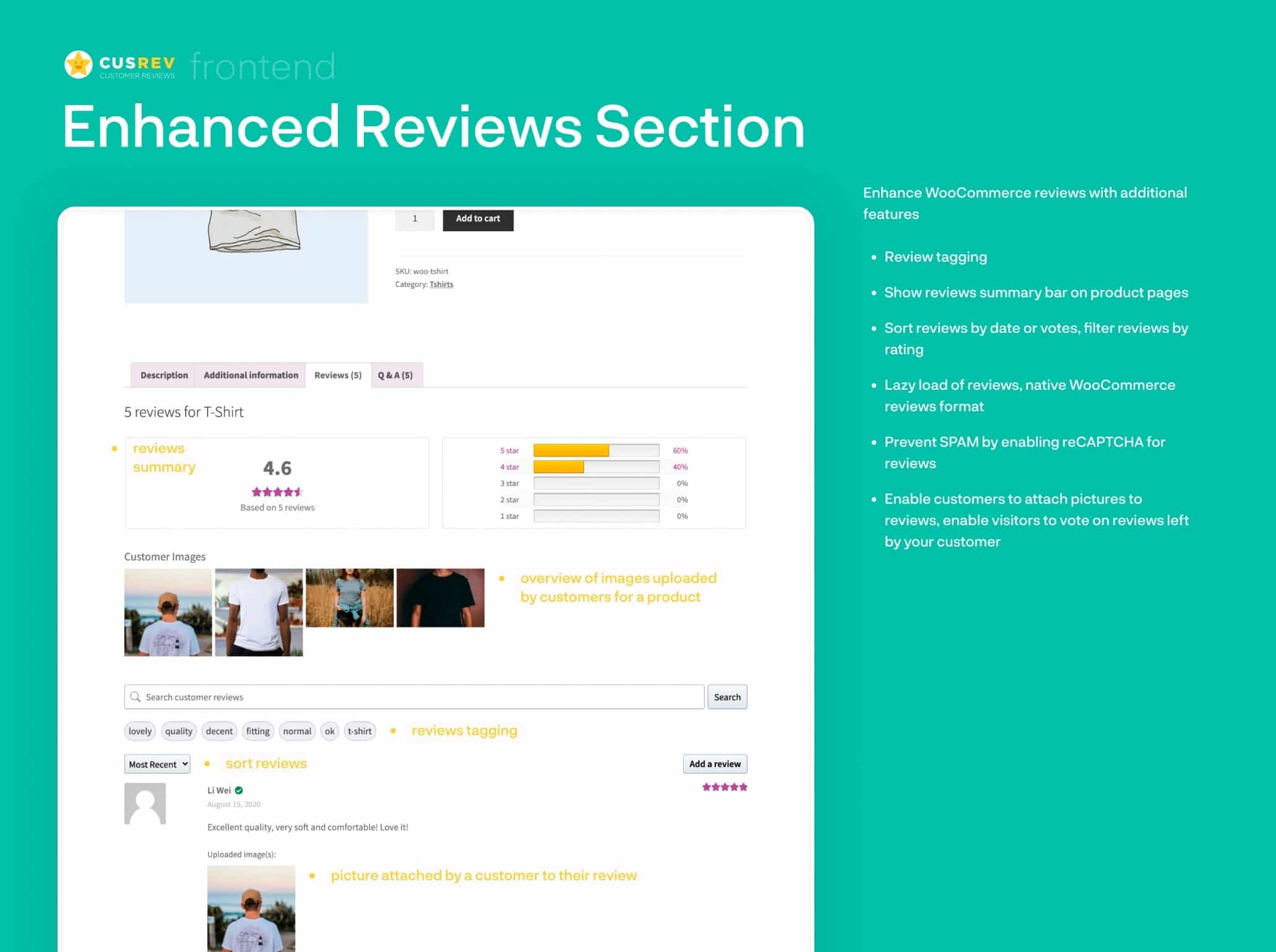 Customer Reviews for WooCommerce plugin example