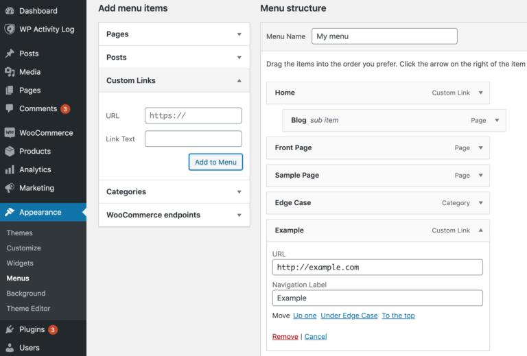 Adding custom links to a WordPress menu.