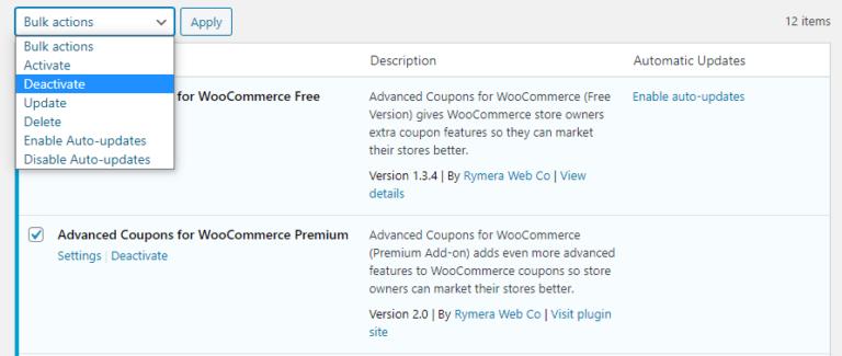 Disabling plugins through the WordPress dashboard.