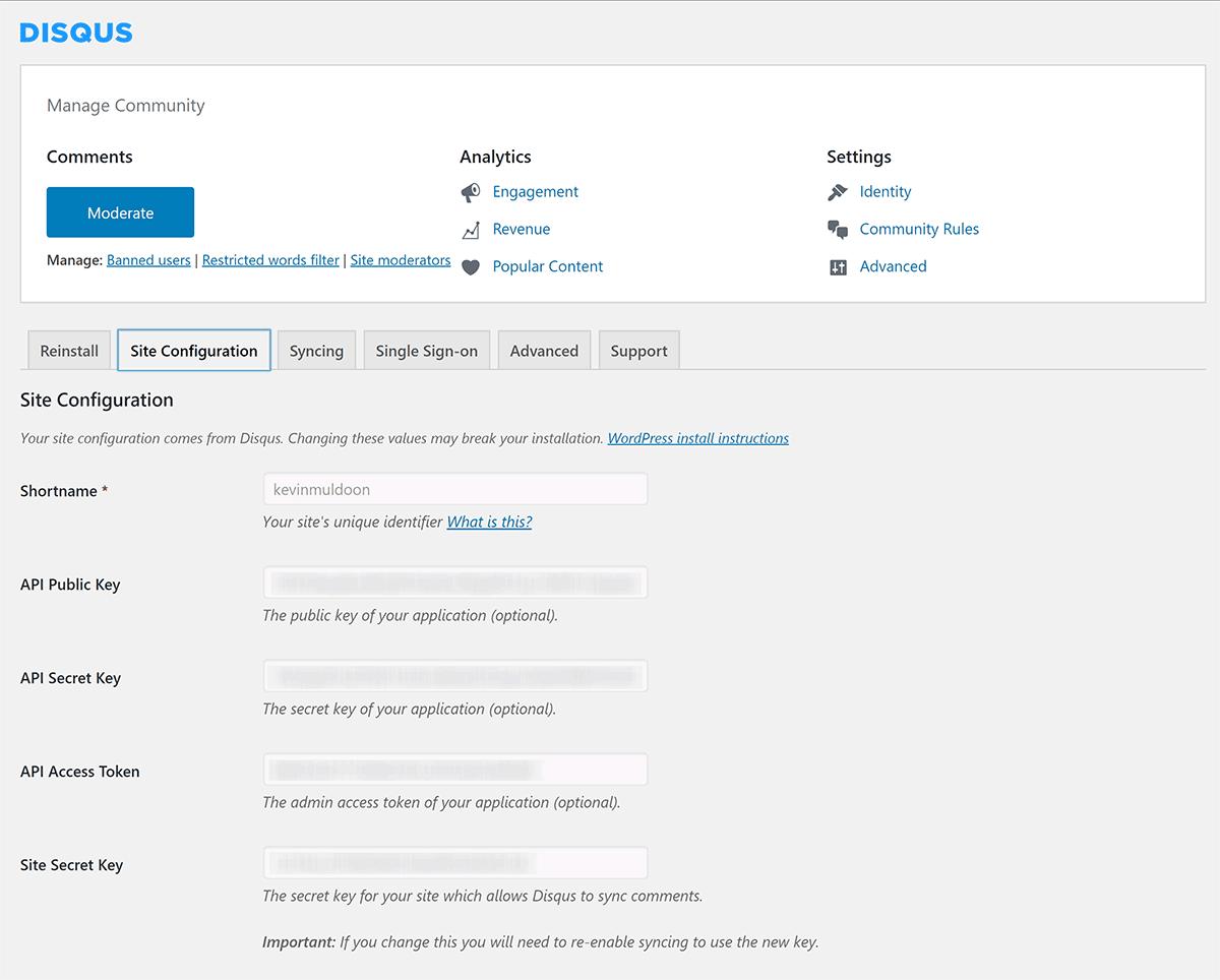 Disqus Site Configuration