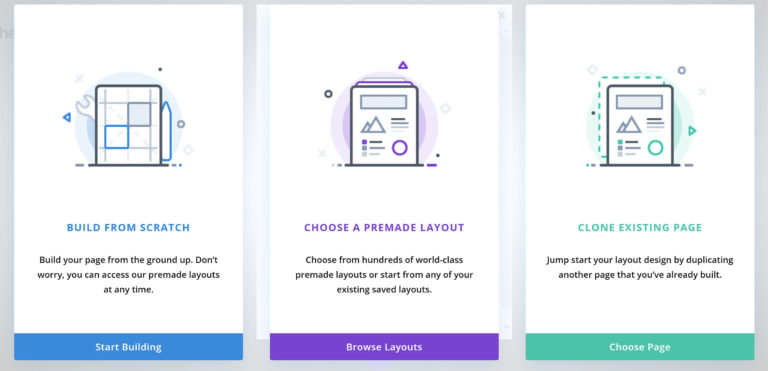 The Divi Builder Selection Screen