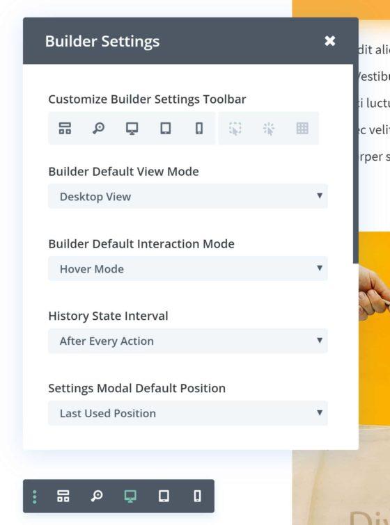 Visual Builder Settings