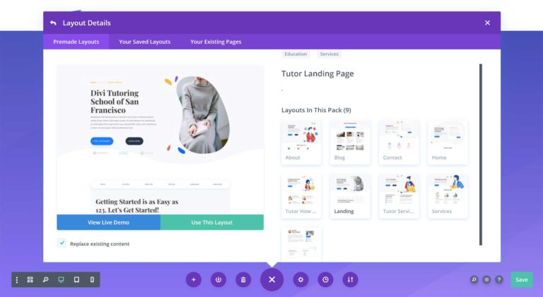 Loading a Divi Pre-Made Layout