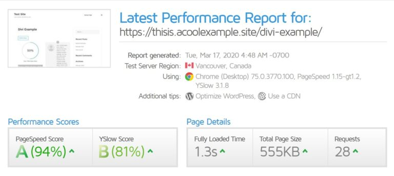 Divi performance