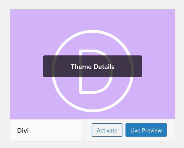 Divi Theme Activation