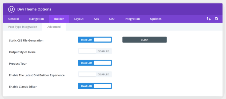 Advanced Divi Builder Settings in Theme Options