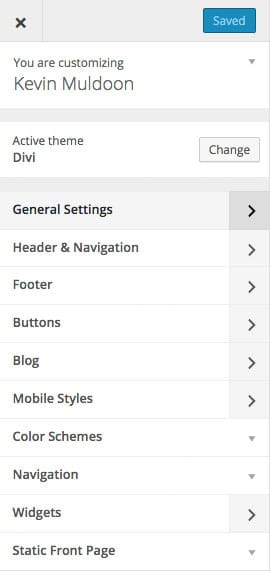 Divi WordPress Theme Customizer