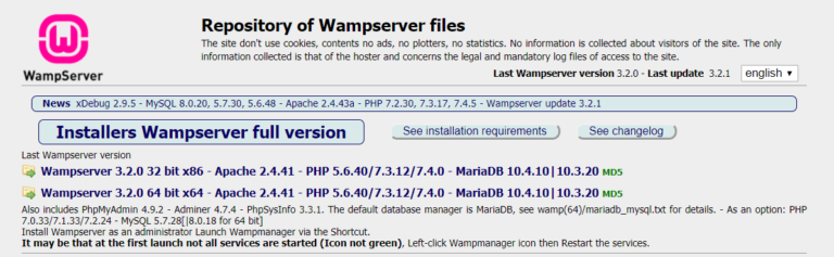 Downloading WAMP.