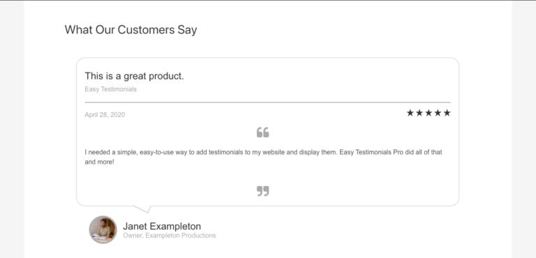 Easy Testimonials Plugin example
