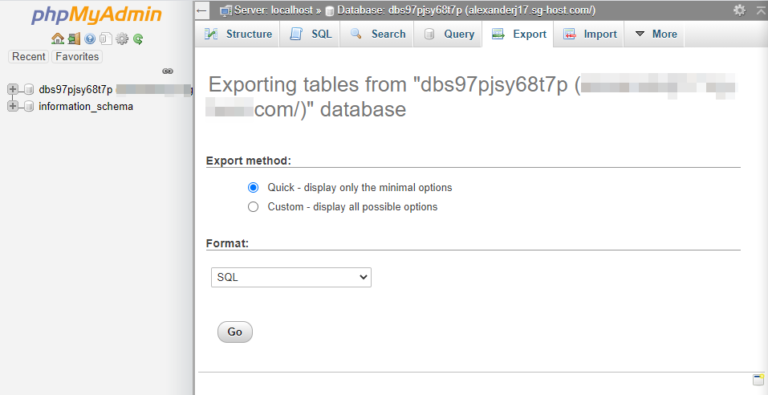 Exporting the contents of your database