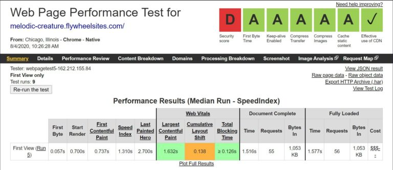 Flywheel WebPageTest results