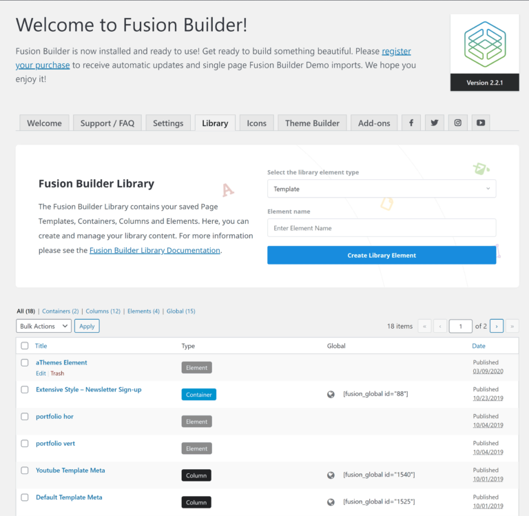 Fusion Builder Library List