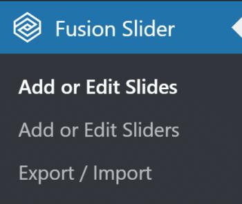 Fusion Slider Admin Menu
