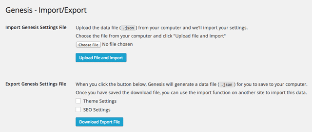 Import and Export Functionality