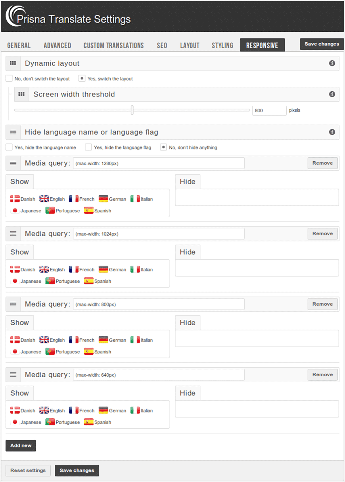 Responsive Settings in Google Website Translator